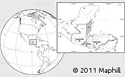 Gray Location Map of Belize, blank outside