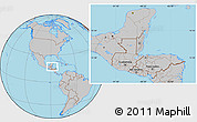 Gray Location Map of Belize, hill shading inside