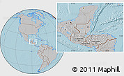 Gray Location Map of Belize, hill shading outside