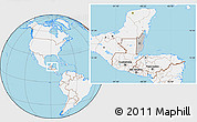 Gray Location Map of Belize, lighten, land only