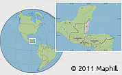 Gray Location Map of Belize, savanna style outside