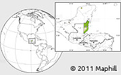 Physical Location Map of Belize, blank outside