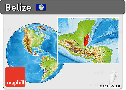 Physical Location Map of Belize