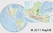 Physical Location Map of Belize, lighten