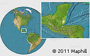 Physical Location Map of Belize, satellite outside