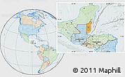 Political Location Map of Belize, lighten