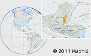 Political Location Map of Belize, lighten, semi-desaturated