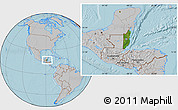 Satellite Location Map of Belize, gray outside, hill shading