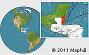 Satellite Location Map of Belize, highlighted continent