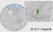 Satellite Location Map of Belize, lighten, desaturated