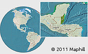 Satellite Location Map of Belize, lighten, land only
