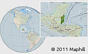 Satellite Location Map of Belize, lighten