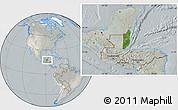 Satellite Location Map of Belize, lighten, semi-desaturated