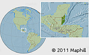 Satellite Location Map of Belize, savanna style outside, hill shading