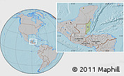 Savanna Style Location Map of Belize, gray outside, hill shading