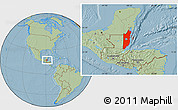 Savanna Style Location Map of Belize, hill shading