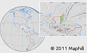 Savanna Style Location Map of Belize, lighten, desaturated, hill shading