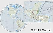 Savanna Style Location Map of Belize, lighten, hill shading