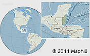 Savanna Style Location Map of Belize, lighten, land only, hill shading
