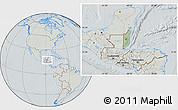 Savanna Style Location Map of Belize, lighten, semi-desaturated, hill shading
