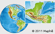 Savanna Style Location Map of Belize, physical outside, hill shading