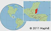 Savanna Style Location Map of Belize