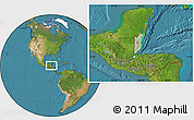 Savanna Style Location Map of Belize, satellite outside, hill shading
