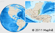 Savanna Style Location Map of Belize, shaded relief outside, hill shading
