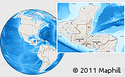 Shaded Relief Location Map of Belize, lighten, land only