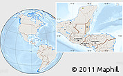 Shaded Relief Location Map of Belize, lighten