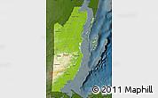 Physical Map of Belize, darken