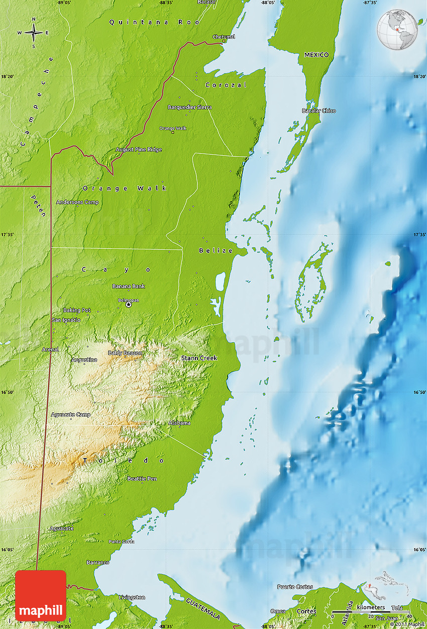 Physical Map of Belize