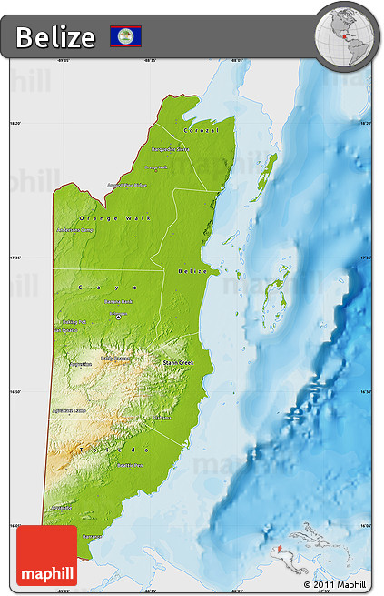 Free Physical Map of Belize single color outside bathymetry sea