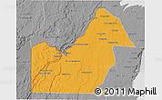 Political 3D Map of Orange Walk, desaturated
