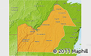 Political 3D Map of Orange Walk, physical outside