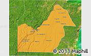 Political 3D Map of Orange Walk, satellite outside