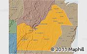Political 3D Map of Orange Walk, semi-desaturated