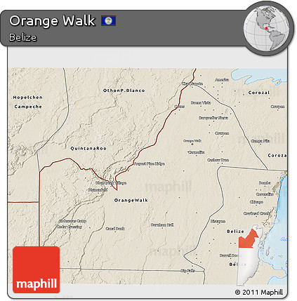Shaded Relief 3D Map of Orange Walk