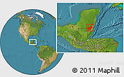 Satellite Location Map of Orange Walk
