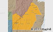 Political Map of Orange Walk, semi-desaturated