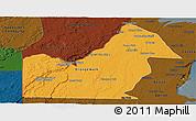 Political Panoramic Map of Orange Walk, darken