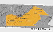 Political Panoramic Map of Orange Walk, desaturated