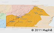Political Panoramic Map of Orange Walk, lighten