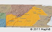 Political Panoramic Map of Orange Walk, semi-desaturated