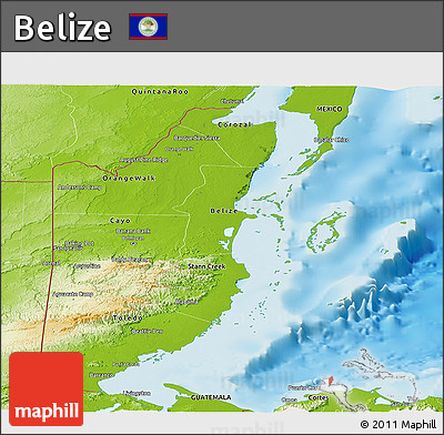 Physical Panoramic Map of Belize