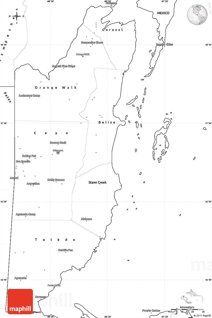 Blank Simple Map of Belize