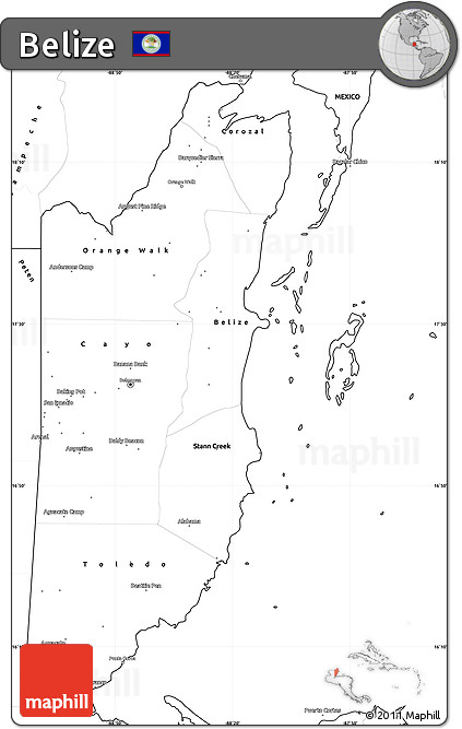 Free Blank Simple Map of Belize