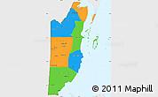 Political Simple Map of Belize, single color outside