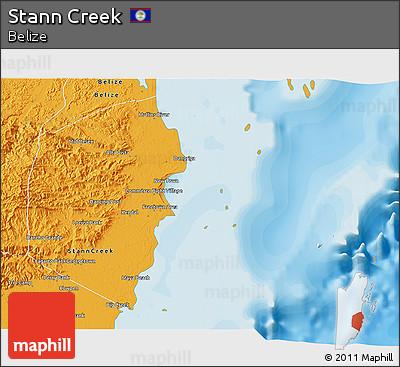 Political 3D Map of Stann Creek