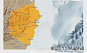 Political 3D Map of Stann Creek, semi-desaturated